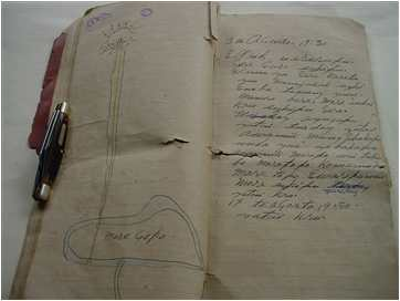 Francisco's diary with drawing of hill and bright light
